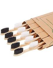 Spazzolino BAMBOO di legno Naturale biodegradabili 10 pezzi senza BPA con Setole di Carbone attivo, VEGAN , BIO