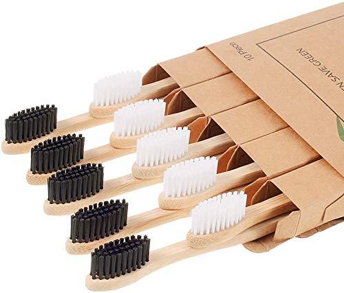 Spazzolino BAMBOO di legno Naturale biodegradabili 10 pezzi senza BPA con Setole di Carbone attivo, VEGAN , BIO (morbide)
