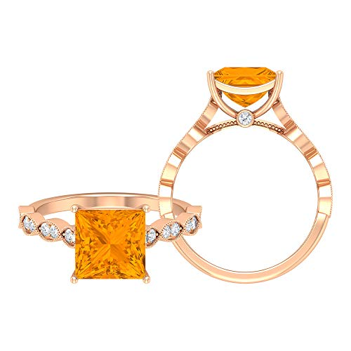 Rosec Jewels 18 quilates oro rosa talla princesa Round Brilliant Orange Moissanite Zafiro naranja creado en laboratorio