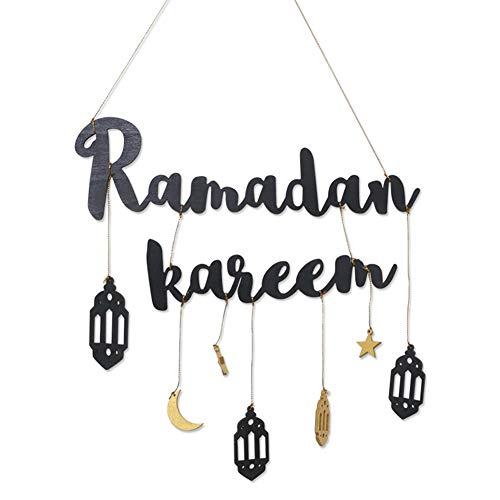 N\C Eid Mubarak Decorazione da parete Ramadan Ciondolo da appendere alla parete placca in legno con lettera lanterna modello per la casa nero