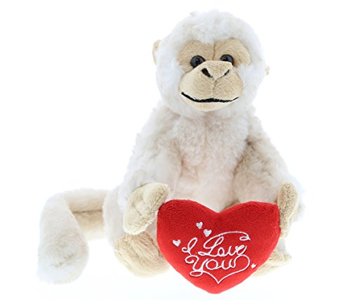 Dollibu White Squirrel Monkey I Love You Valentines Stuffed Animal - Heart Message - 12.5 inch - Wedding, Anniversary, Date Night, Long Distance, Get Well Gift for Her, Him, Kids - Super Soft Plush