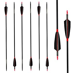 Letszhu Carbon Archery Arrows 500 Spine with Real Feathers for Compound Recurve Bow (12 Pack)