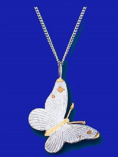 Original Plata de Ley 2 Color Mariposa Colgante + Cadena Nuevo