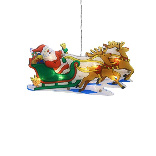 JYuanzshi Christmas Lighted Window Ornament,Shimmer Silhouette Santa Christmas Tree Snowman LED Hanging Light with Suction Cup,Suitable for Christmas Decoration(Reindeer Santa)