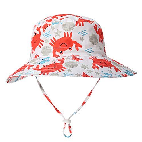 Happy Cherry Cappello Anti UV Bambino Cappellino Parasole Bambina Ribaltabile Cappello da Sole Traspirante 52 CM 2-4 Anni