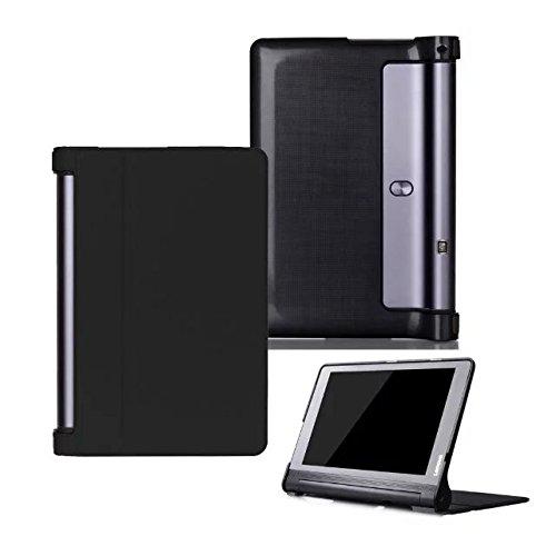 Kepuch Custer Funda para Lenovo Yoga Tab 3 Pus 10.1 YT-X703/Yoga Tab 3 Pro 10.1 YT3-X90L YT3-X90F,Slim Smart Cover Fundas Carcasa Case Protectora de PU-Cuero - Negro