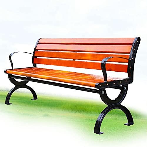 Panchina in Ghisa e Legno Panca da Giardino con Schienale Braccioli, Panca da Esterno 3 Posti, Panca Legno Massello - Color And Size Can Be Customized