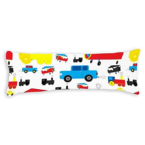 Funda de almohada para el cuerpo, 50,8 x 137,2 cm, bonito y colorido, diseño de aviones, trenes y coches, funda de almohada suave con cierre de cremallera oculta, protector de almohada de cuerpo largo