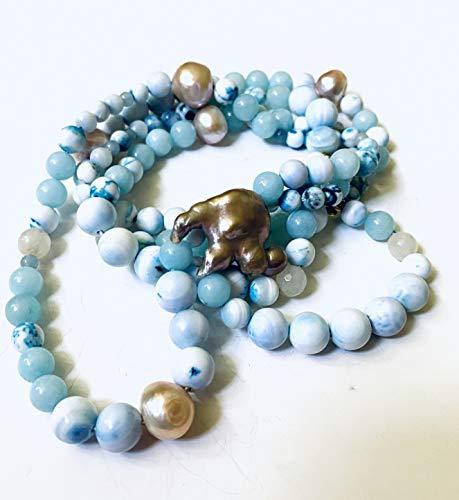 Blaue Steinkette mit Barockperlen