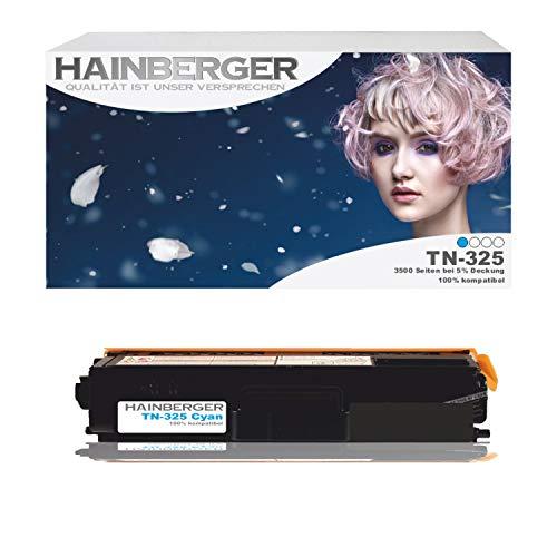 Hainberger Toner Cyan für Brother TN 325 Cyan 3500 Seiten kompatibel zu TN 320 / 325 / 328. Geeignet für Brother DCP-9055 Brother DCP-9055 CDN 9270 9270 CDN Brother HL 4140 CN 4150 CDN 4570 CDW 4570 Cdwt 9460 9460 CD 9460 CDN 9460 N 9465 9465 CDN 9970 9970 CDN 9970 CDW