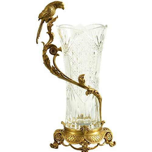 YUESFZ Vaso in Cristallo Uccello Dorato Fatto A Mano, Decorazione da Tavolo in Rame Intarsiato di Lusso Leggero, Retro Tulipano Toro per Tavolo da Pranzo (Color : Clear, Size : 25 * 23 * 49cm)