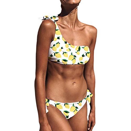 Bokeley Women's One Off-Shoulder Ruffle Bikini Striped Swimsuit Cute Tie Side Two Piece Flounce Swimwear