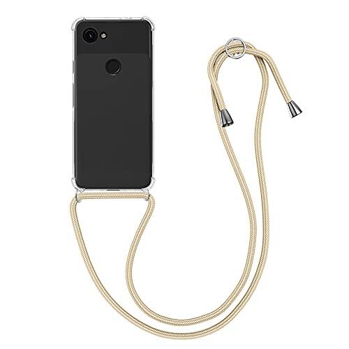 kwmobile Custodia Compatibile con Google Pixel 3a - Cover a Tracolla con Cordino - Back Case Silicone Oro con Laccio per Collo