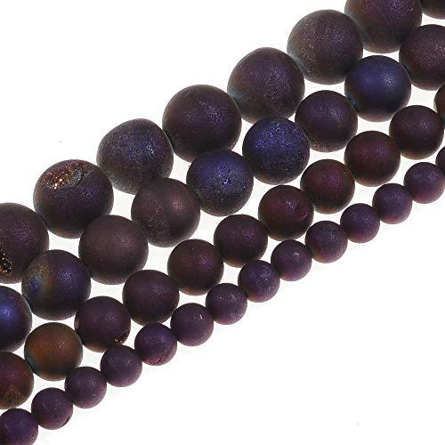 Ruilong - Piedra preciosa de ágata redonda suelta de 8 mm, 10 mm, 12 mm, morado, 8 mm
