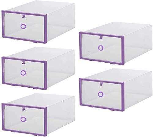 yxx Lagerplatz 5 stück stapelbare schuhkasten, lagerungsorganizerbox mit Deckel for Herren, Damen, Kinder Sandalen, Wohnungen, Sneakers