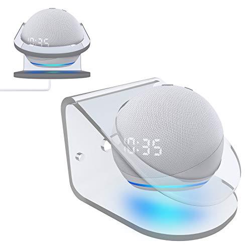 Echo Dot Supporto,Supporto da Parete per Echo Dot 4,Acrilico Trasparente Supporto per Montaggio a Parete,Staffa da Tavolo Stabile Multiuso,Adatto per Camera da Letto,Bagno,Soggiorno e Cucina