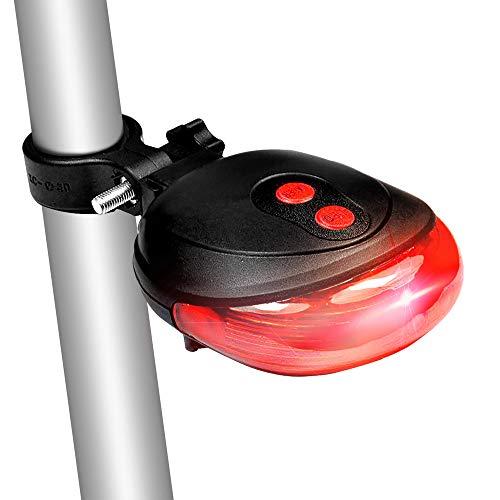 Redlemon Luz Trasera para Bicicleta con 5 Leds y 2 Lásers Guía de Carril. Luz para Bici con Modos de Brillo