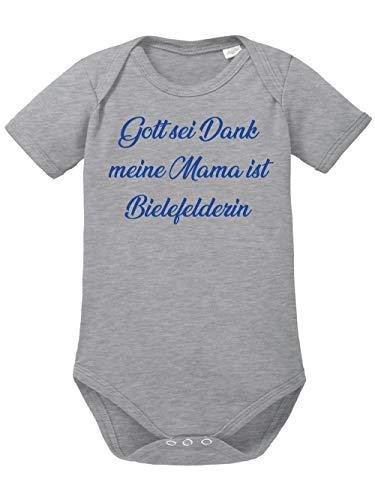 clothinx Gott sei Dank,Meine Mama ist Bielefelderin, Lustiges Fussballmotiv Baby Body Bio Sports Grey Gr. 50-56