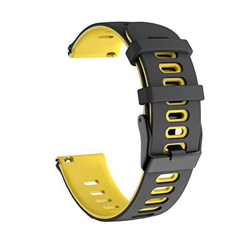 Sorteo para Samsung Galaxy Watch Active 2 40mm 44mm Strap Sport Pulsera Silicone WatchBand Active2 20mm Reloj Correa para Huawei GT2 42mm (Band Color : Black Yellow, Band Width : 20mm)