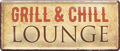 Grill & Chill Lounge 28 x 12 cm Spruch Fun Deko Blechschild 1848