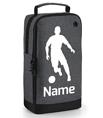 beyondsome Fußballschuhtasche für Jungen und Mädchen, personalisierbar, dunkelgrau/weiß bedruckt