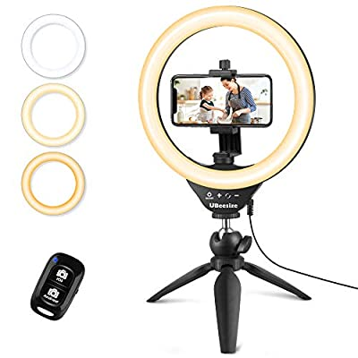 "UBeesize 10"" Selfie Ring Light with Tripod Stand & Cell Phone Holder, Dimmable Desktop LED Circle Light for Live Streaming/Makeup/YouTube, Compatible with iOS and Android Phones from UBeesize"