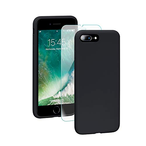 SmartDevil Funda para iPhone 7 Plus/8 Plus Protector de Pantalla, Funda de Goma de Gel de Silicona Líquida a Prueba de Golpes Cojín de Forro de Tela de Microfibra Suave para iPhone 7 Plus/8 Plus