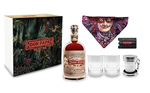 Don Papa Geschenkset- Rum 0,7l (40% Vol) + 2 Tumbler Glas + Halstuch + Handyhalterung + Jigger Ruhm Ron Spirituose Bar Cocktail