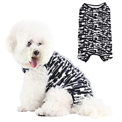 Due Felice Dog Professional Surgical Recovery Suit for Abdominal Wounds Skin Diseases, After Surgery Wear, E-Collar Alternative for Dogs, Home Indoor Pets Clothing Gray Mosaic Size M