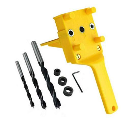 8PCS Pasador Jig Kit de perforación del taladro de la madera agujero consideró herramienta portátil 6 8 10 mm Bit manguito metálico para Carpintería (amarillo)