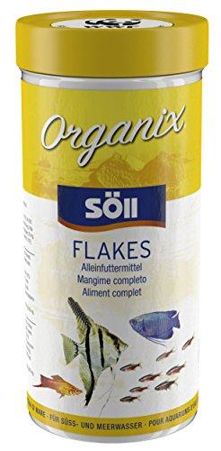 Söll 16137 Organix Flakes 490 ml - Hauptfutterflocken für Zierfische reich an Proteinen, Vitaminen und Spurenelementen für natürliche nährstoffreiche Ernährung von Goldfischen, Guppys & Co.