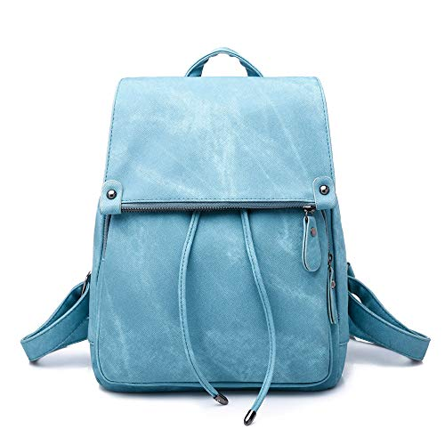 N/A Zaino da Donna ANAN Fashion Casual Fold Denim PU Travel Casual Daypack School Zaini Borsa,Blue