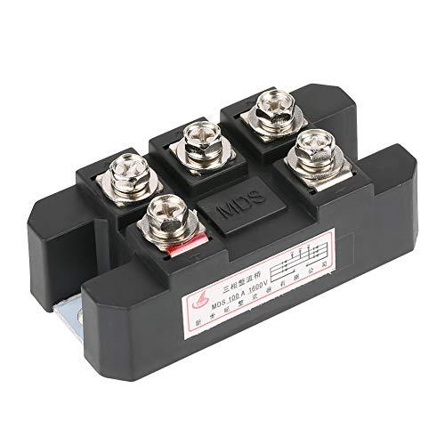 Puente rectificador de diodo trifásico, 1pc MDS100A Negro 100A Amp Alta potencia 1600V Puente de diodo trifásico rectificador