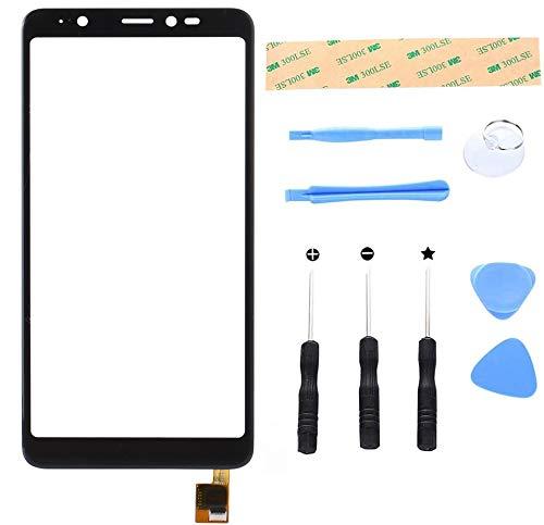 Lusee Bildschirm für Wiko Y60 5.45 Ersatz Touch Screen Glas Display Reparatur Touch Panel mit Werkzeug Set (Schwarz)