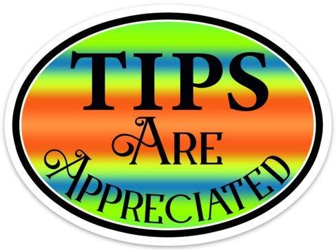 Tips are Appreciated Sticker 5' x 3.7' Vinyl Decal Tip Bar Coffee Restaurant