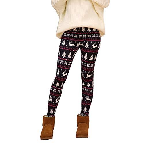 Mingdoo Weihnachts Leggings Damen Drucken Sporthose Oversized Loungewear mit Weihnachtsmuster - Schwarz Rot, CN 4XL