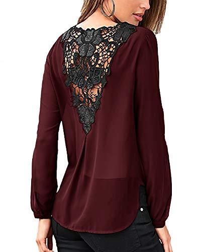 YOINS Sexy Oberteil Damen Langarmshirt V-Ausschnitt Pullover Rückenfreie Blusen Herbst Spitzenbluse Mode Patchwork T-Shirts