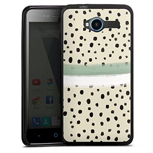 DeinDesign Silikon Hülle kompatibel mit ZTE Blade L3 Hülle schwarz Handyhülle Polka Dots Abstrakt Farbe