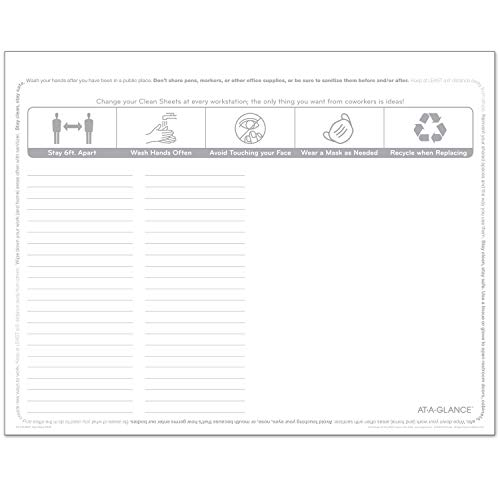 """AT-A-GLANCE Disposable Clean Sheets, 22"""" x 17"""", Surface Protection, for Home or Office Desktop Workspace, 25 Pack (SK2628)"""
