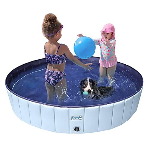 V-HANVER Foldable Dog Pool Collapsible Heavy Duty PVC Pet Pool Bath Tub for...