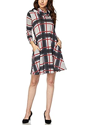 Plus Size Plaid Cowl Neck Knit Dress With Sleeves and Pockets Made in USA