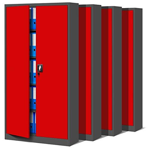 4er Set Aktenschrank C001 Metallschrank Stahlschrank Werkzeugschrank Büroschrank Lagerschrank...