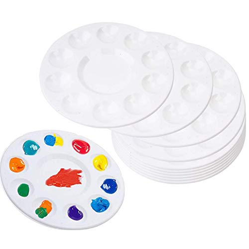10 Pcs Paint Palette Tray, Plastic Round Palette, Painting Palettes with 10 Wells and 1 Central Reservoir, for DIY Craft Artist Professional Art Painting, 6.7in, White