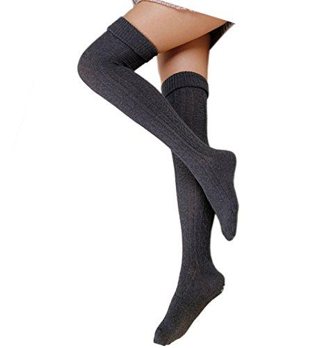 Cindeyar 1 Paar Damen Overknee Strümpfe Lange Kniestrümpfe Retro Schüler Überknie Strick Socken (Herbst und Winter, Dunkelgrau)