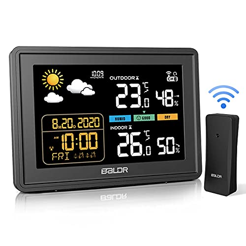 Weather Station, Wireless Home Thermometer Outdoor Indoor Colorful Display Hygrometer with 5 Level Adjustable Backlight Humidity Monitor Weather Forecast Alarm Clock and Sensors