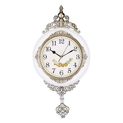 QTBH Reloj de Pared Péndulo Europeo Reloj de Pared Dormitorio Sala de Estar Estilo rústico Reloj de Cuarzo silencioso Mesa suspendida Reloj de Pared silencioso (Color : C, Size : M)