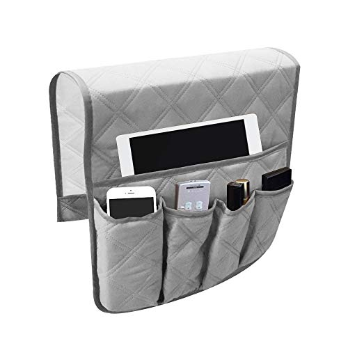 LYNKO Organizador de reposabrazos, 5 bolsillos, antideslizante, bolsa de almacenamiento, para tableta, teléfono, bloc, libro, revistas, mando a distancia de TV (gris)
