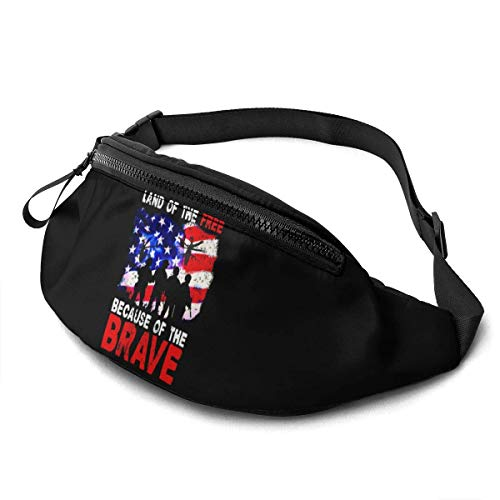AOOEDM Land of The Free Because of The Brave Unisex Casual Waist Bag Packs Bum Bag with Adjustable Belt for Running Sports