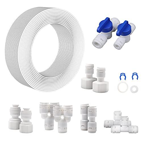 Kit de conector de tubería de suministro de agua de 20 m 15 piezas para tubería de refrigerador y tubería de filtro de agua, sistema de ósmosis inversa (tipo Y + T + I + L + válvula cerrada)