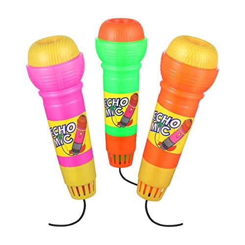 NUOBESTY Echo, mikrofon, zabawki, terapia mowa, zabawki opinie, udawanie, zabawa, wielokolorowe nowatorskie zabawki dla dzieci uwielbiają śpiewać i muzykę, 3 szt. (bez baterii, mieszany kolor)